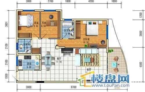 方源广场B2-6-2户型3室2厅2卫1厨