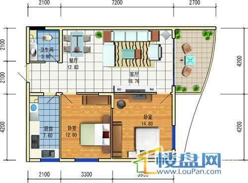 方源广场B2-6-3户型2室2厅1卫1厨