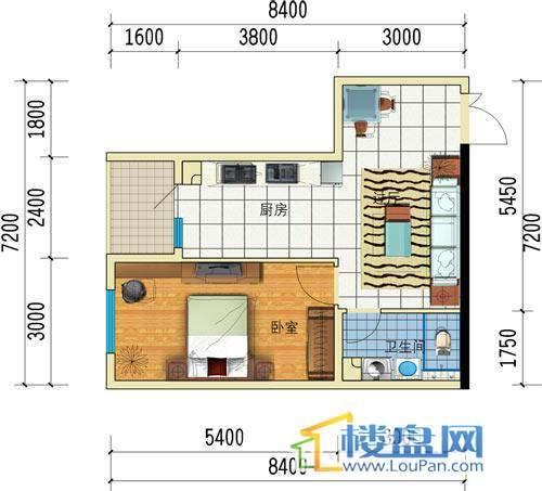 方源广场B2-6-5户型1室1厅1卫1厨