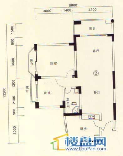 黔城碧水人家B户型2室2厅1卫1厨