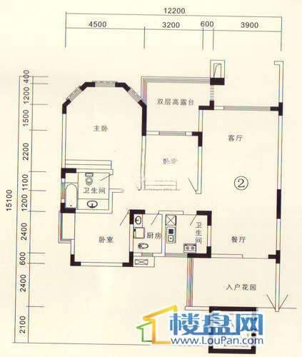 黔城碧水人家F户型3室2厅2卫1厨