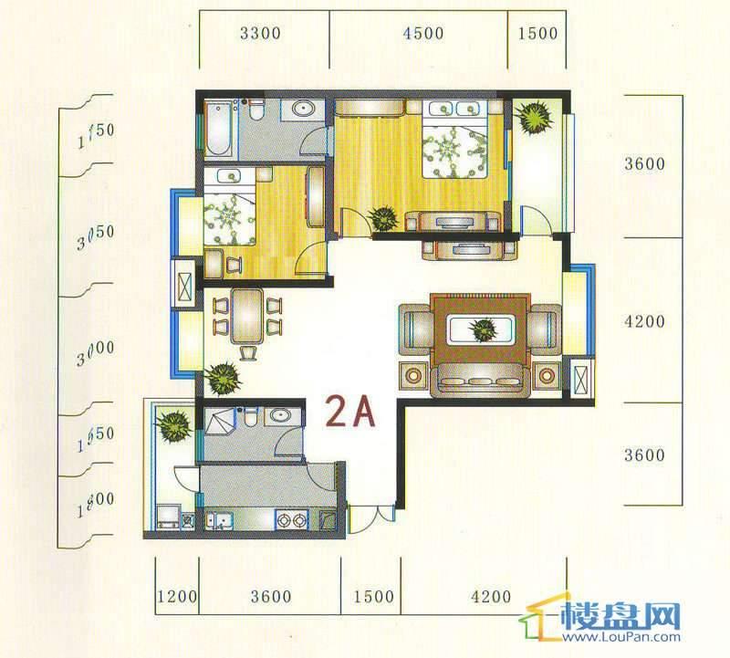 金元国际新城2A户型2室2厅2卫1厨