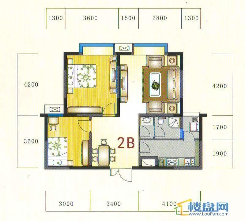 金元国际新城2b户型2室2厅1卫1厨