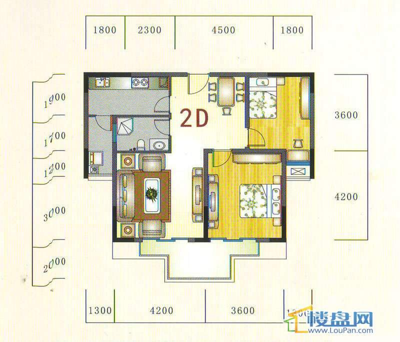 金元国际新城2D户型2室2厅1卫1厨