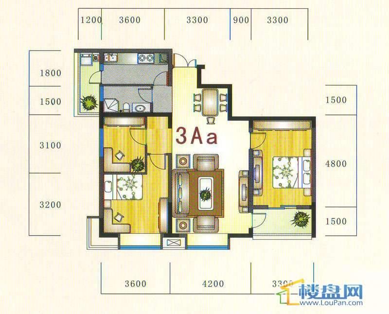 金元国际新城3Aa户型3室2厅1卫1厨