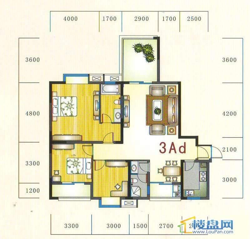 金元国际新城3Ad户型3室2厅2卫1厨