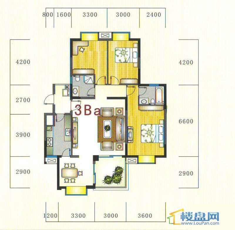 金元国际新城3Ba1户型3室2厅2卫1厨