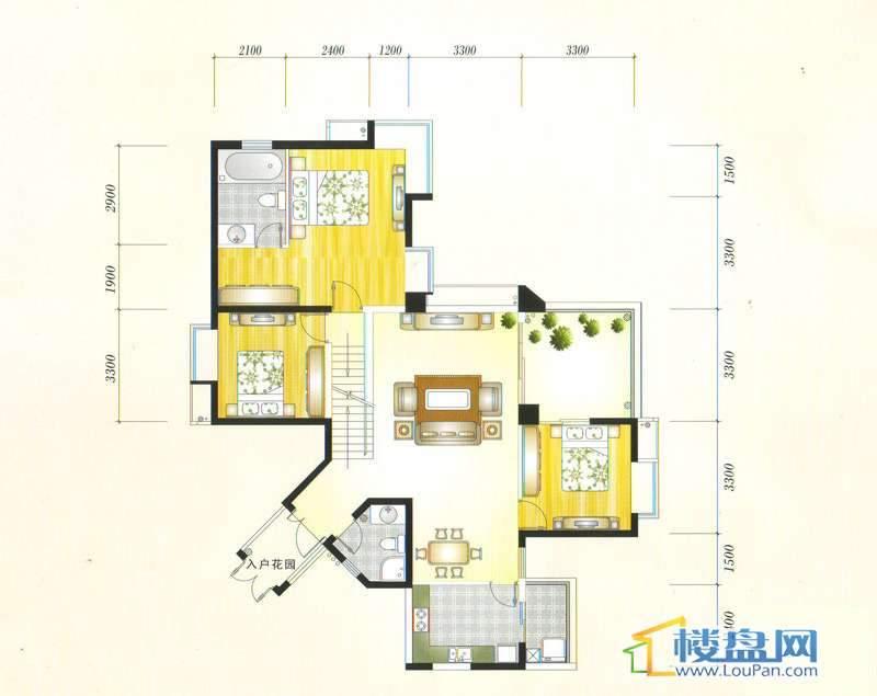 金元国际新城3Ba户型3室2厅2卫1厨