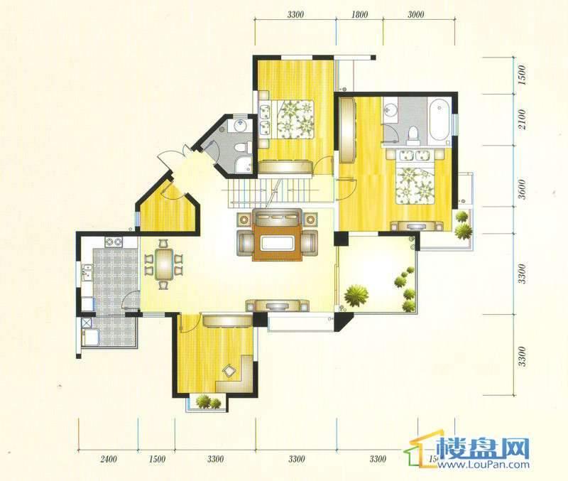 金元国际新城3Cg户型3室2厅2卫1厨