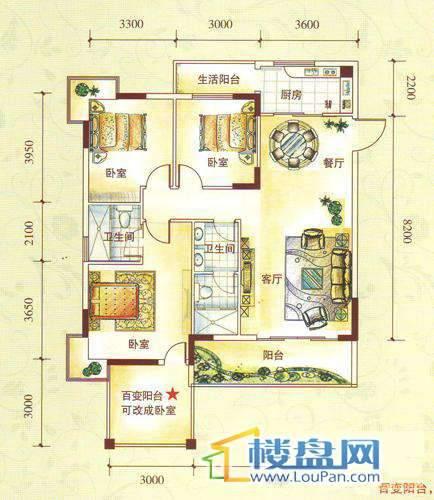 水锦花都F组团1D户型3室2厅2卫1厨121.65