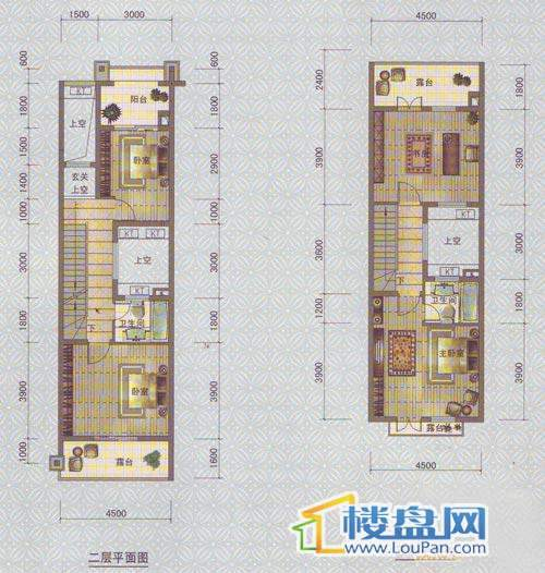 中天托斯卡纳T2d户型2、3层4室3厅3卫1厨