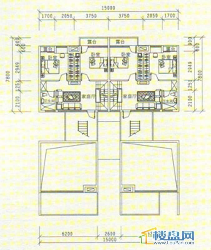 中天世纪新城三期叠拼 B5、B6四层平面图5室3厅3卫1厨