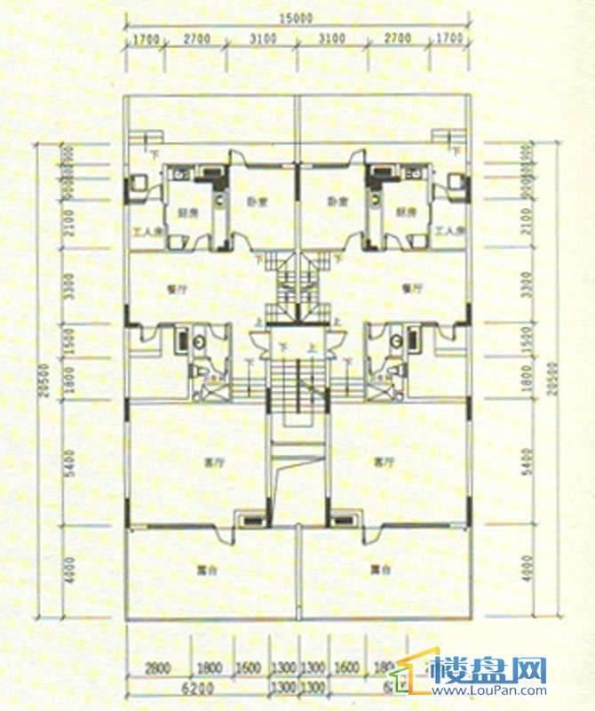 中天世纪新城三期叠拼 B5、B6栋一层平面图5室3厅3卫1厨