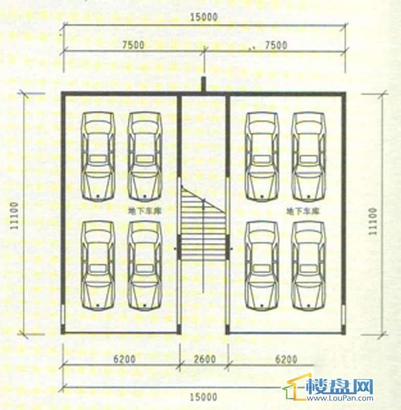 中天世纪新城三期叠拼 B5、B6负二层平面图5室3厅3卫1厨