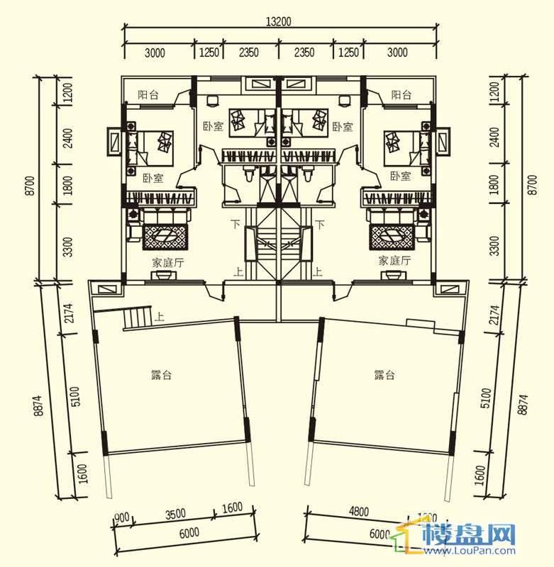 中天世纪新城3期叠拼A户型四层户型5室3厅3卫1厨