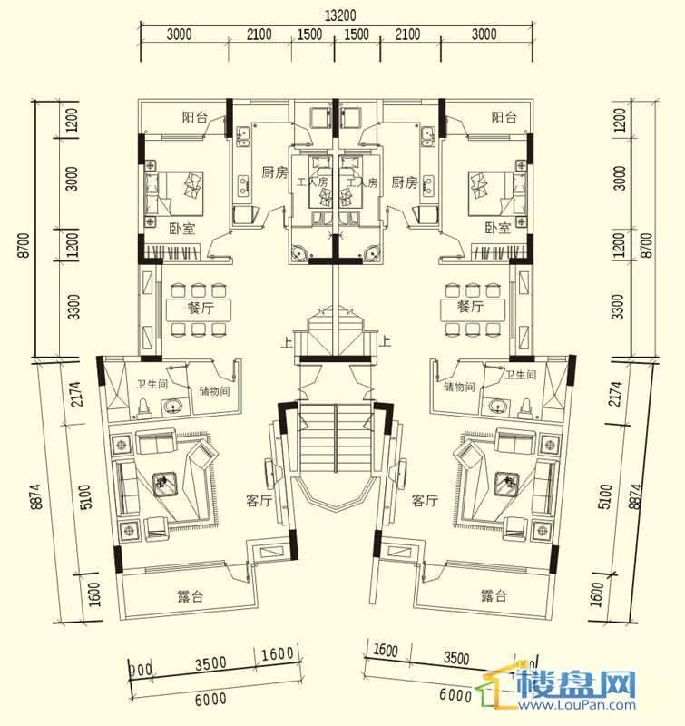 中天世纪新城3期叠拼A户型三层户型5室3厅3卫1厨