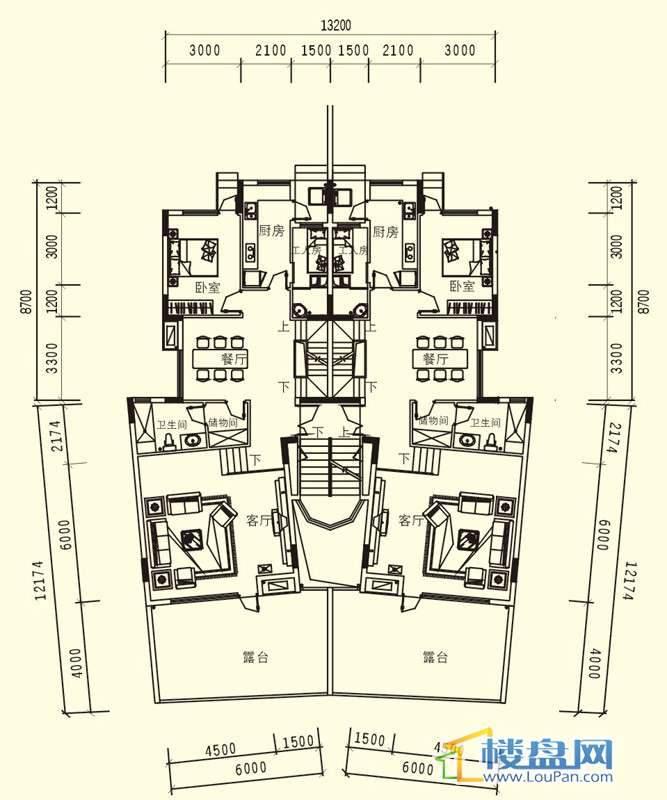 中天世纪新城3期叠拼A户型一层户型5室3厅3卫1厨