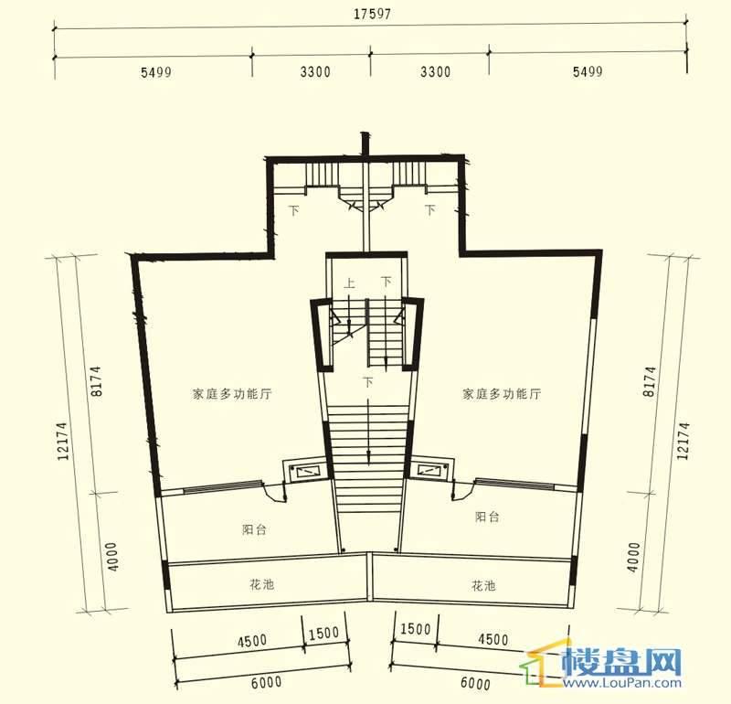 中天世纪新城3期叠拼A户型负一层户型5室3厅3卫1厨