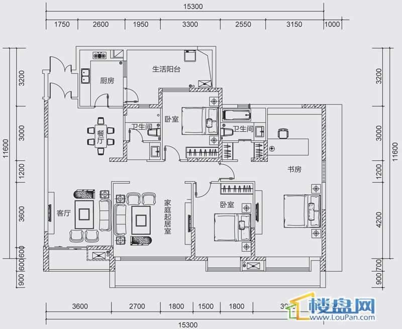 中天世纪新城三组团F2F3A户型4室3厅2卫1厨