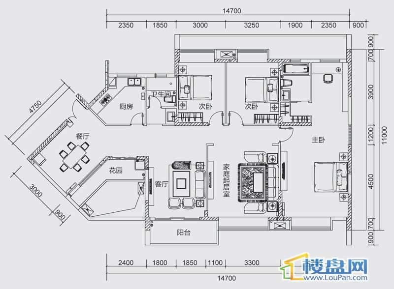 中天世纪新城三组团F2F3B户型4室3厅2卫1厨