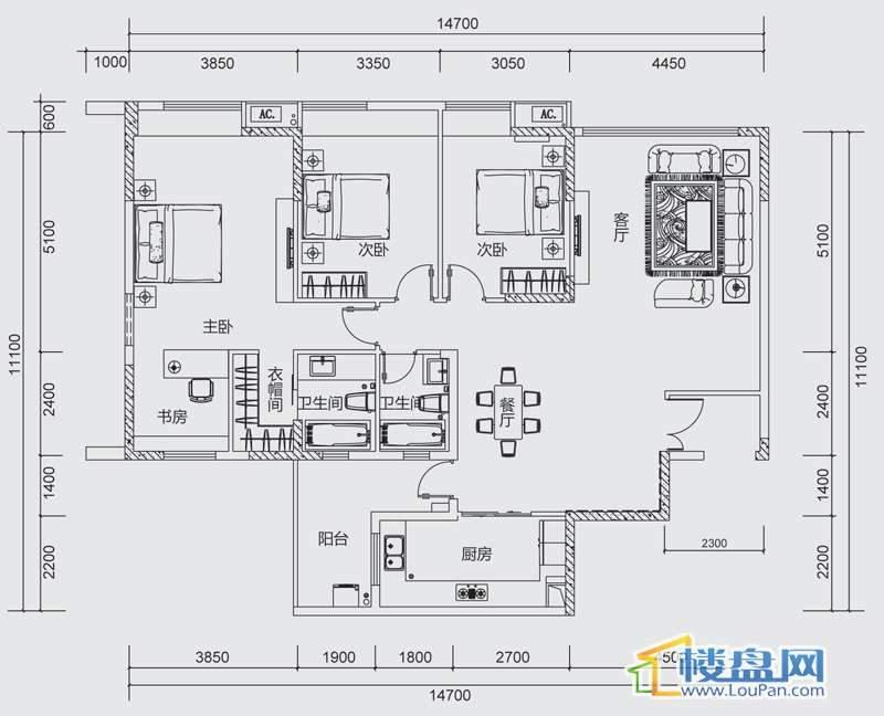 中天世纪新城三组团F4F5户型4室2厅2卫1厨