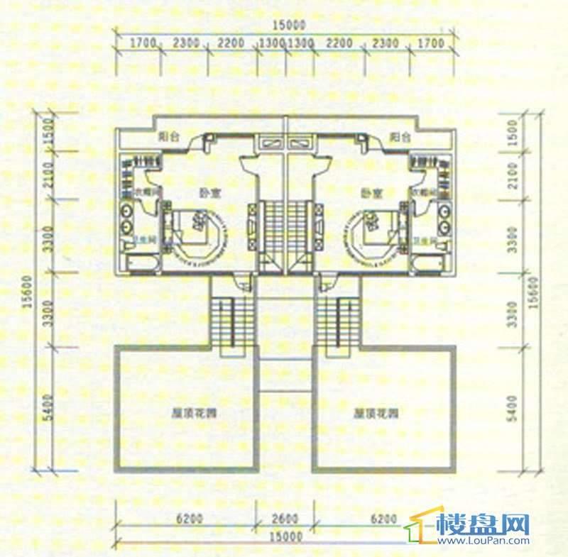 中天世纪新城三期叠拼 B5、B6五层平面图5室3厅3卫1厨