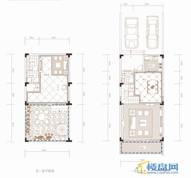 天世纪新城东城旗郡A户型负一层、一层平面图7室3厅4卫