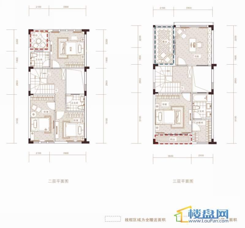 中天世纪新城东城旗郡A户型二层、三层平面图