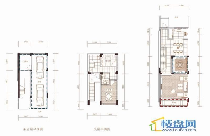 中天世纪新城东城旗郡B户型架空层、夹层、一层平面图7室2厅4卫