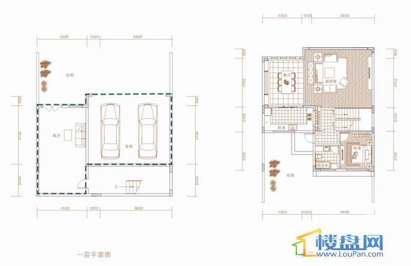 中天世纪新城东城旗郡C户型一层、二层平面图7室3厅4卫