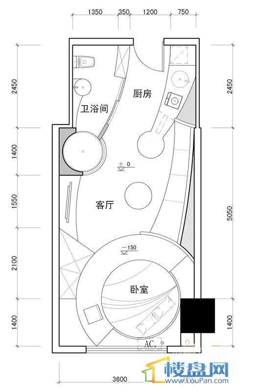 百灵时尚天地3号户型1室1厅1卫1厨