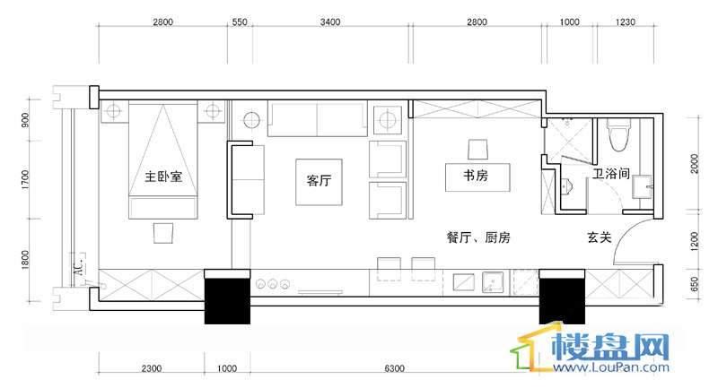 百灵时尚天地4号户型2室1厅1卫1厨