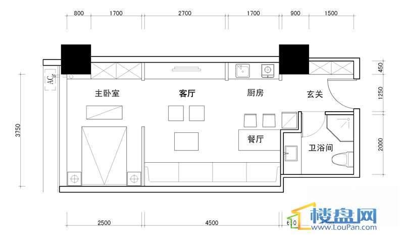 百灵时尚天地5号户型1室1厅1卫1厨