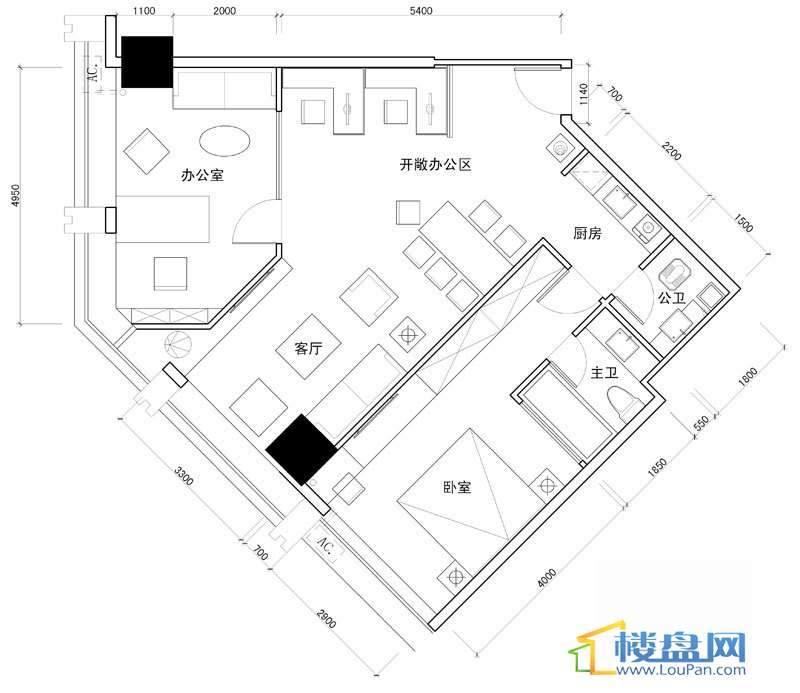 百灵时尚天地1号户型1室2厅2卫1厨