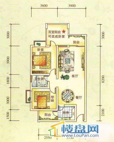 水锦花都F组团B户型2室2厅1卫1厨