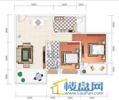 美佳假日花园6号楼2号房户型2室2厅1卫1厨