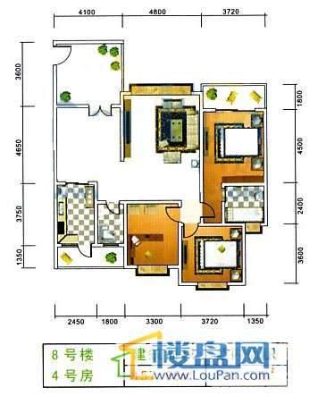 美佳假日花园8号楼4号房3室2厅1卫1厨