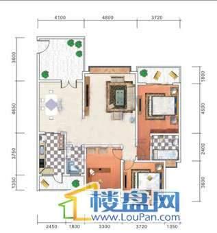 美佳假日花园8号楼4号房户型3室2厅2卫1厨