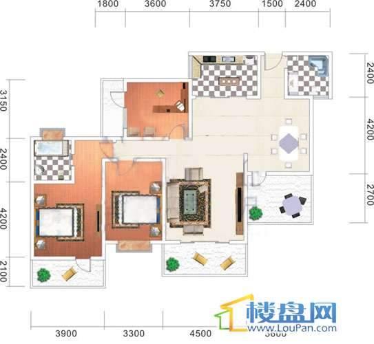 美佳假日花园10号楼4号房户型3室2厅2卫1厨
