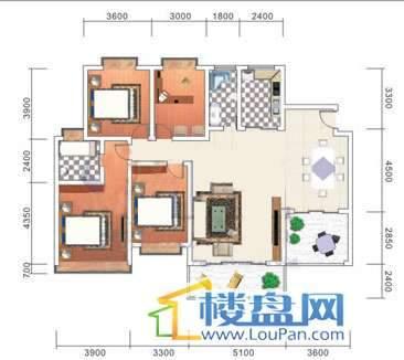 美佳假日花园12号楼1号房户型4室2厅2卫1厨