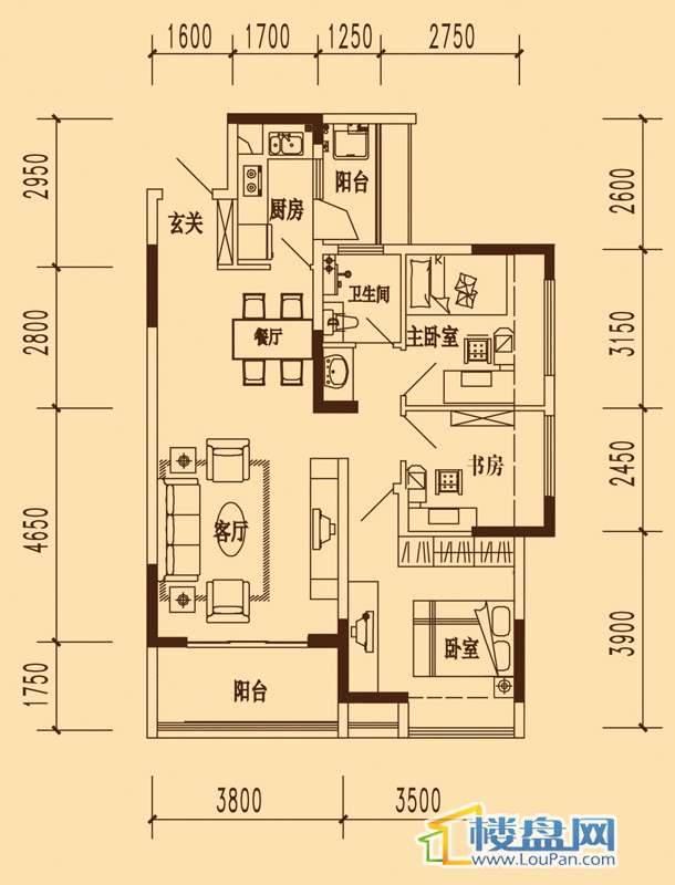 万科劲嘉金域华府花样年华高层标准层户型3室2厅1卫1厨