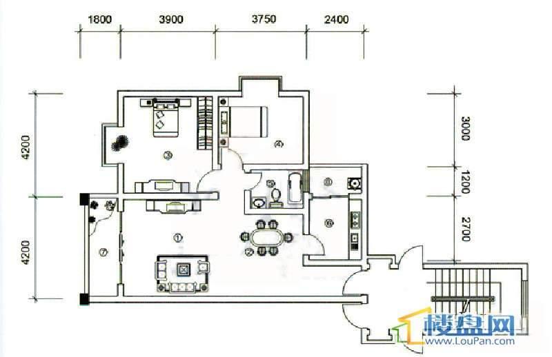 大兴星城12户型2室2厅1卫1厨