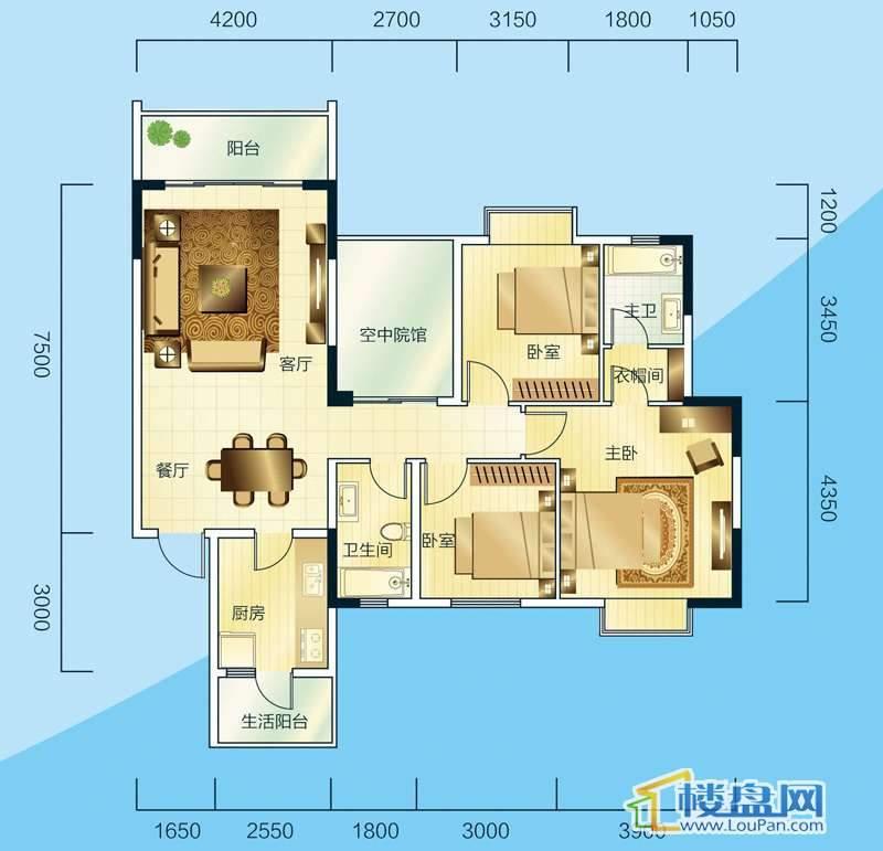 睿力上城A1/A2号楼B户型3室2厅2卫1厨