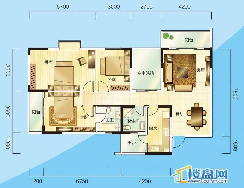 睿力上城A1号楼A户型3室2厅2卫1厨