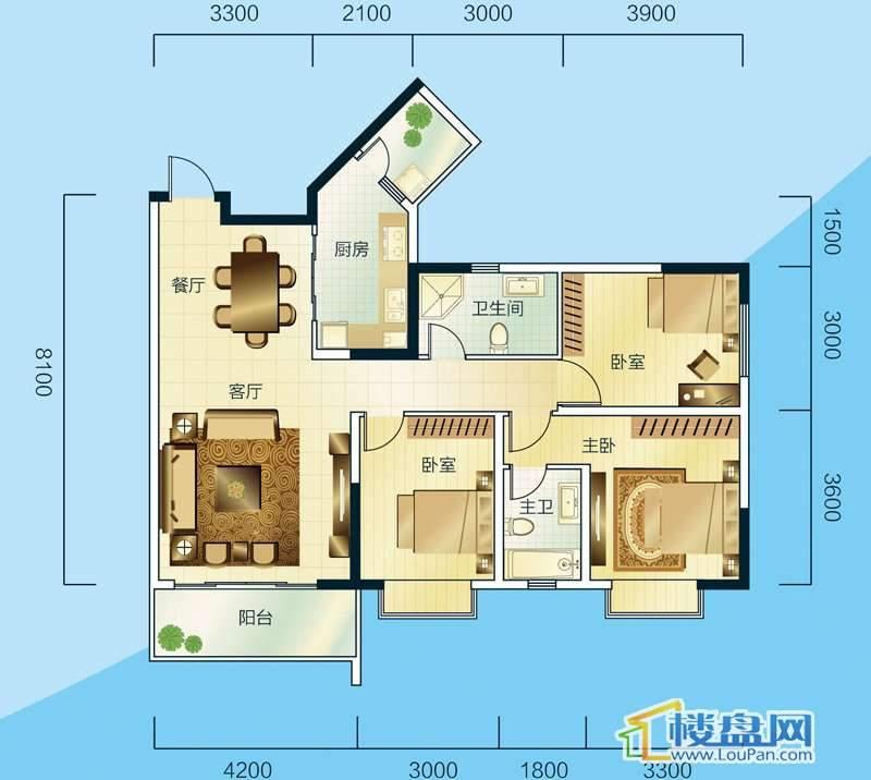 睿力上城A3/B1号楼B户型3室2厅2卫1厨