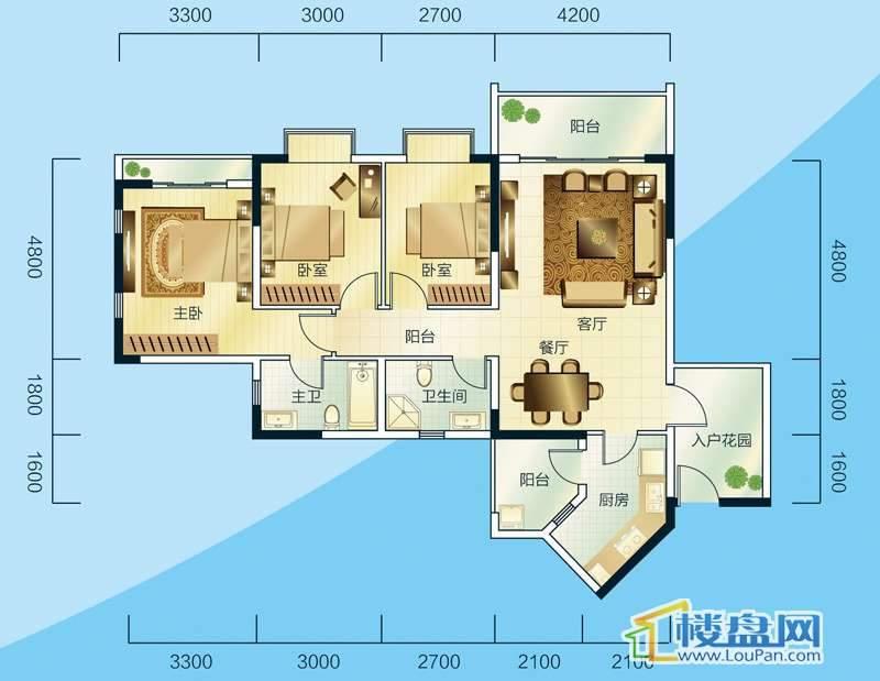 睿力上城A3/B1号楼D户型3室2厅2卫1厨