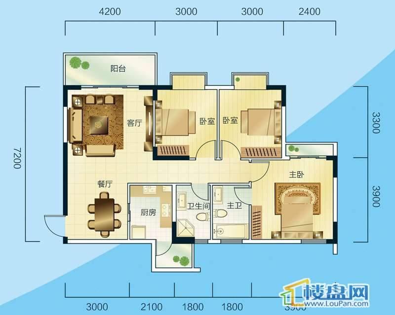 睿力上城B2/B3号楼A户型3室2厅2卫1厨