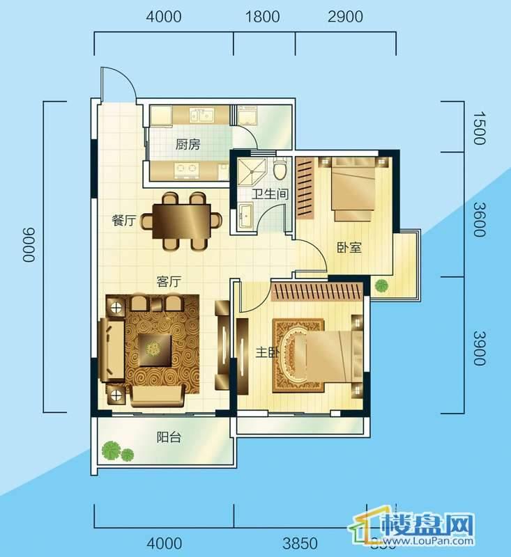 睿力上城A1/A2号楼E户型2室2厅1卫1厨
