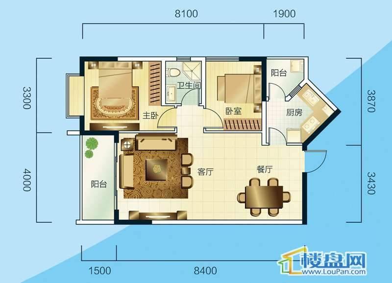 睿力上城A3/B1号楼C户型2室2厅1卫1厨