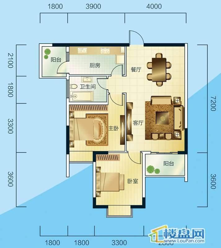 睿力上城B2/B3号楼A户型2室2厅1卫1厨
